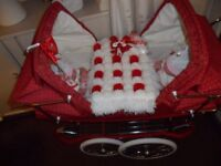 SILVER CROSS DOLLS TWIN PRAM RED SPOTTED.