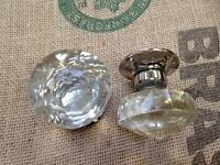 BEAUTIFUL SET OF LAURA ASHLEY FRANCES CRYSTAL DOOR KNOBS
