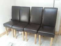 4 faux leather dining chairs
