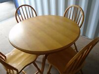 PINE ROUND TABLE & 4 MATCHING CHAIRS FOR SALE.