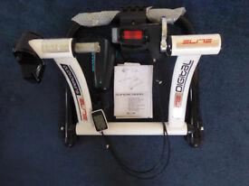 Elite Supercrono Digital turbo trainer with Decathlon front wheel block