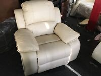 New / Ex Display LazyBoy Cream/White Leather Recliner Chair