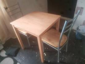 Dining Table & Chairs - Square Space Saver Table and 2 Chairs