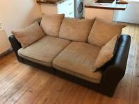 3 seater fabric/leather pillow back sofa from SCS