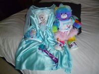 Elsa fancy dress 5-6 with Interactive Microphone and Build a Bear