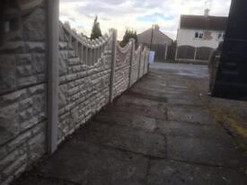 Rockface gravel boards & fancy double toppers concrete fencing design