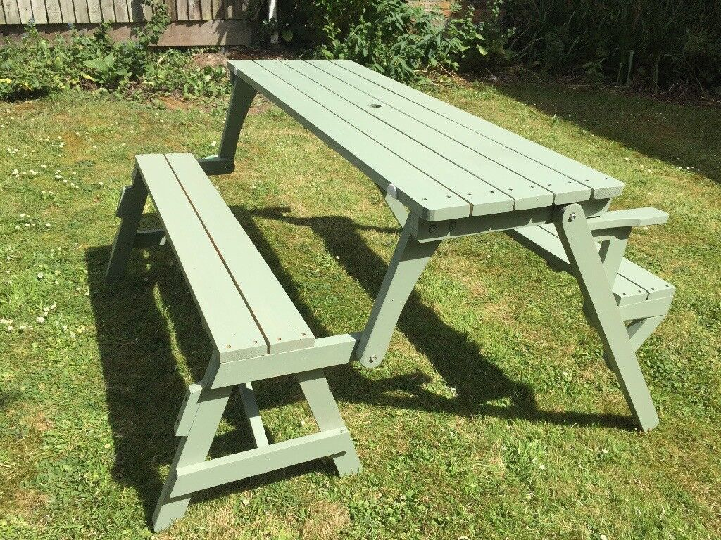 Convertible Picnic Table Garden Bench 2 In 1 Cuprinol Willow Green Wood Set Patio