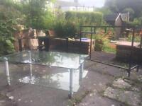 Glass tables (tv table £10, coffee table £5, side table £5)