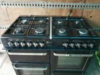Black FLAVEL 100cm 8 Burners Dual Fuel RANGE COOKER £240