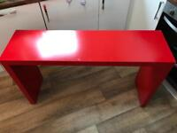 Red Ikea sideboard / console table / dressing table. On wheels - Malm range