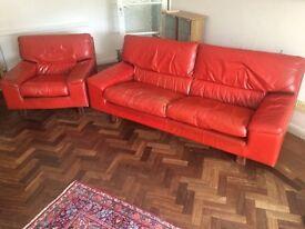 Tetrad Retro Deep Red Leather Sofa and Armchair (Rare)