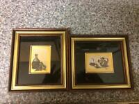 2 small oil paintings on 23carat Gold Leaf