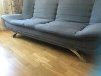 Sofa bed grey modern on chrome legs