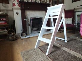 vintage wooden 3 step ladder painted white
