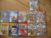 12 German kids DVDs (also in English spoken language) Most new and never opened
