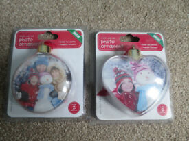 2 x photo bauble christmas tree decorations