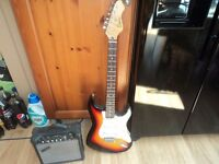 encore stratcaster copy guitar and amp