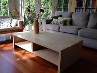 Large solid oak whitewashed coffee table
