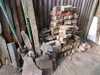 Pile of hard-core bricks free