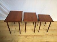 Vintage Teak mid century 1960s trio nest of side coffee tables Danish ?