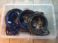 Box of audio cables - mostly phono to mono jack