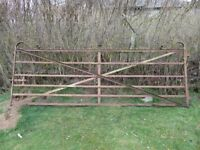 Mid Victorian wrought iron farm/estate gate. 10 foot wide with ornate scrolling.