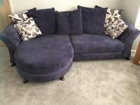 Dfs purple 4seater lounger and 2 seater cuddler sofa