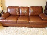 2 piece brown leather settee 3 seater and chair very good used condition