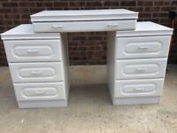 Dressing table , 2side drawers and draw bridging unit all with glass tops , white finish