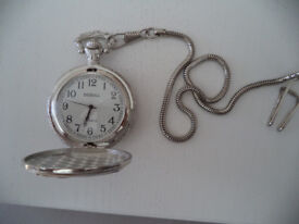 DEBULL silver pocket quartz watch NEW