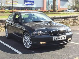 2003 BMW 316ti COMPACT AUTOMATIC * BLACK LEATHER * M SPORT ALLOYS * 1 YEAR MOT * PX * DELIVERY *