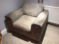 Waffle pattern grey upholstered chair, size large!