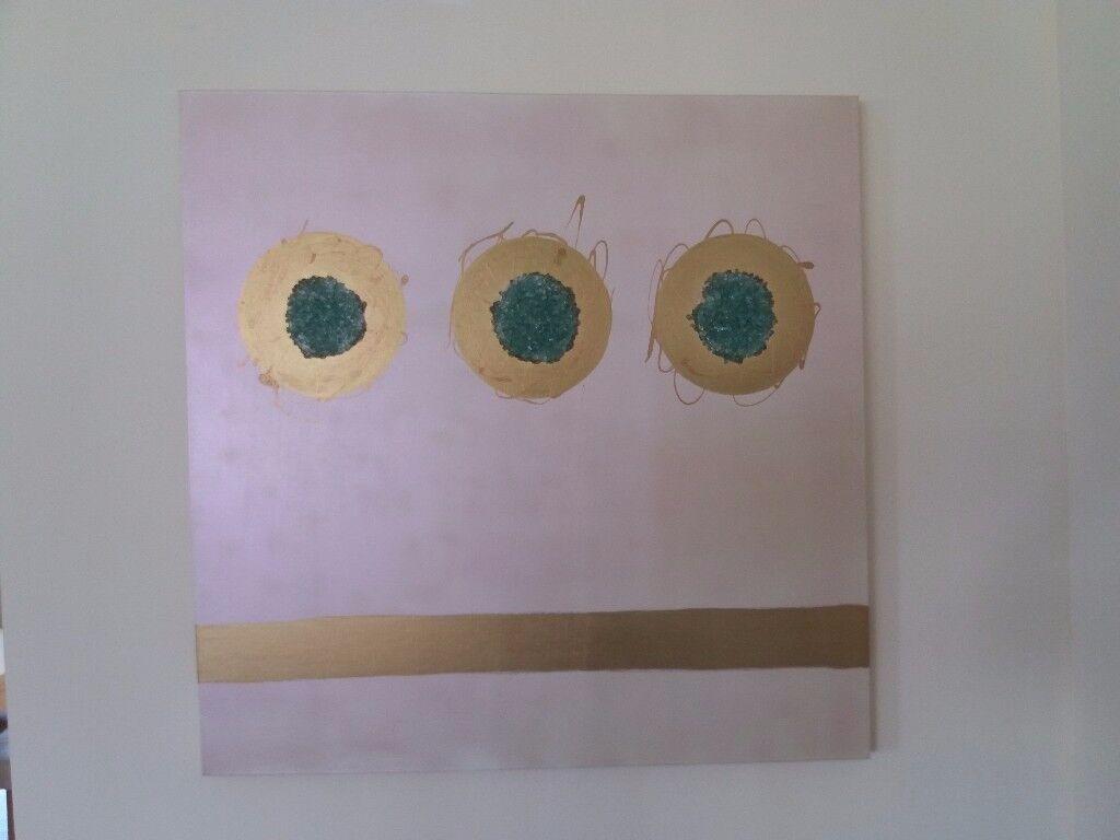 Original Artwork Contemporary Art Canvas - Large - 3 Feet Square, Gold Circles, Glass Decoration