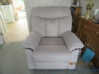 Light beige suedette fabric manual recliner chair