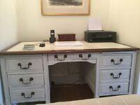 Vintage Victorian/Edwardian twin pedestal leather topped kneehole desk