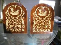 Notturno Intarsio inlaid wood bookends, Sorrento, Italy