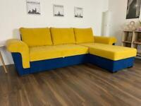 YELLOW AND BLUE CORNER SOFA BED