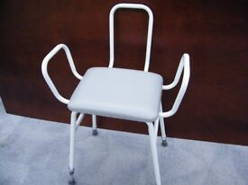 Height Adjustable Shower Stool/Chair Disability Aid With Arms And Back Rest