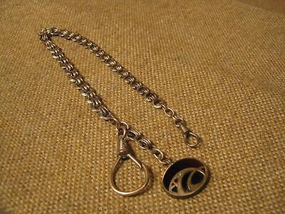 ANTIQUE POCKET WATCH CHAIN WITH PENDANT/Genuine Stone -jugendstil