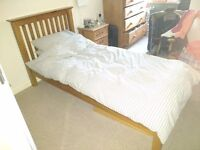 Wooden Framed Single Bed with John Lewis Mattress