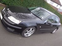 black 55 reg 6 speed saab 93 1.9 diesel+long mot+parking sensors+mobile handsfree+leathers DRIVEAWAY