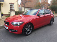 BMW 116D 1 Series Sport 5 door Red FSH with 49300 with professionally wrapped 3M gloss black roof