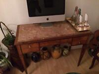 Antique Dressing Table/Desk With Hidden Mirror whe n opened (optional marble top)