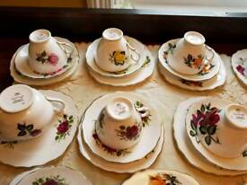 Vintage China cups saucers side plates trios 'colcough'