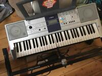 Yamaha keyboard with stand and foot pedal