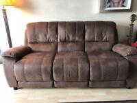 3 seater Chestnut Nubuck sofa, contrasting chair