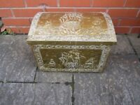 antique vintage embossed brass domed coal log box excellent condition trunk chest