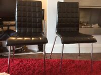 Chairs, black leather, ideal for dining room £40
