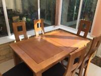 Oak dining table and 6 oak chairs