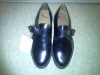Bhs Mens brand new black leather shoes size 7 buckle fastening.